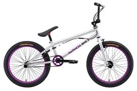 Трюковой велосипед Stark Madness BMX 3, серебристый/фиолетовый/чёрный