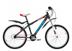 Подростковый горный велосипед Stark Rocket 24.2 D, чёрный/красный/голубой
