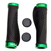 Грипсы эргономичные с металлическими зажимами Vinca black/green, H-G 127