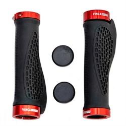 Грипсы эргономичные с металлическими зажимами Vinca black/red, H-G 127 - фото 5995